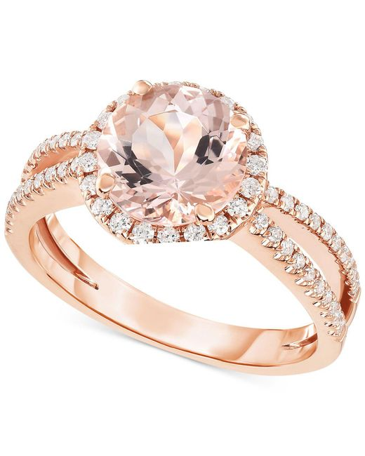 Macy's Metallic Morganite (1-5/8 Ct. T.w.) & Diamond (1/3 Ct. T.w.) Ring In 14k Rose Gold