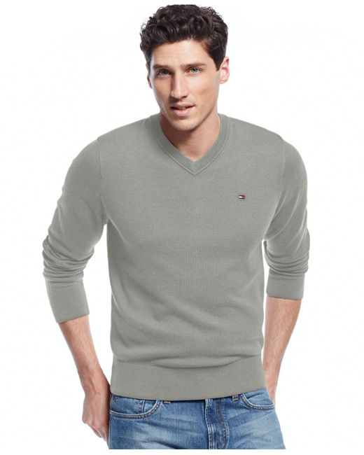 Tommy Hilfiger | Gray Signature Solid V-neck Sweater for Men | Lyst