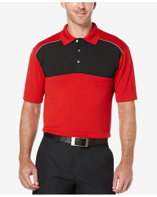 Pga Tour Men 39 S Colorblocked Airflux Golf Polo Shirt In Red