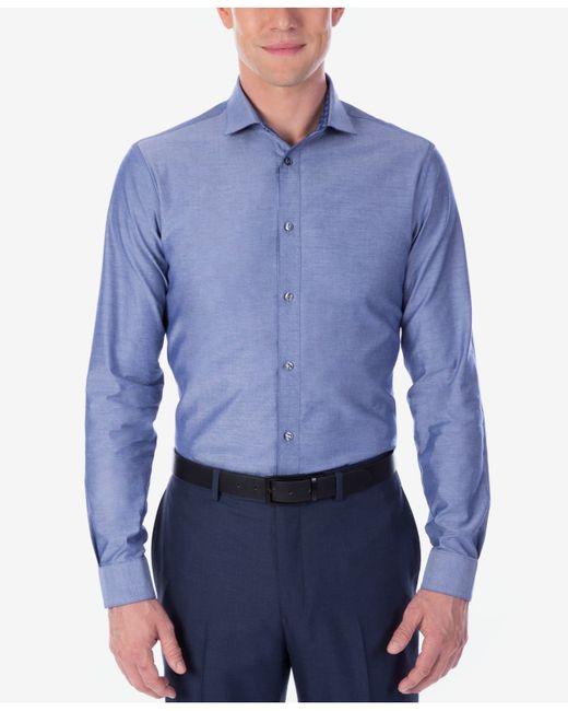 Calvin klein x men 39 s extra slim fit reversible chambray for Calvin klein x fit dress shirt