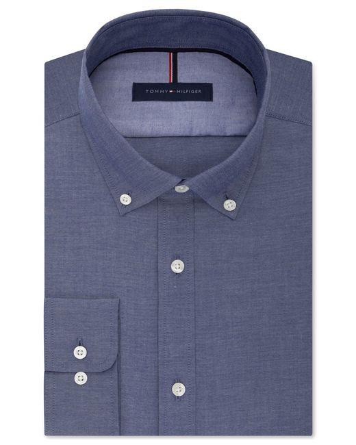 Tommy hilfiger men 39 s slim fit non iron indigo chambray for Non iron slim fit dress shirts