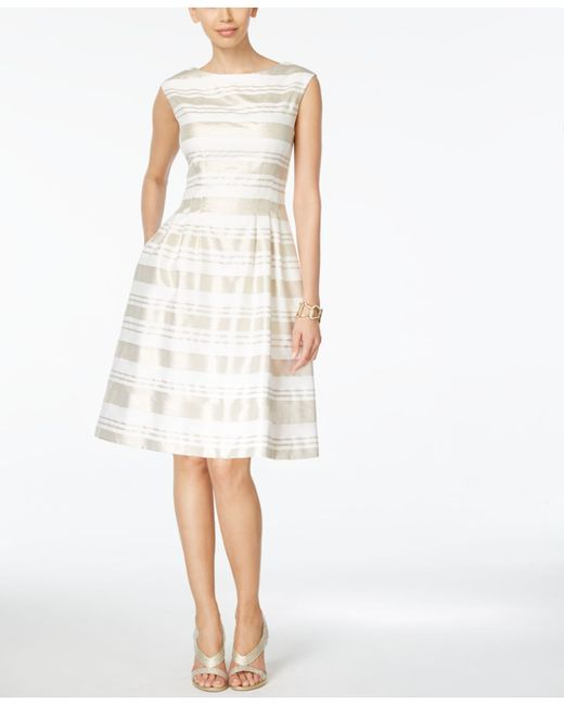 Vince Camuto Striped Cap Sleeve Fit Amp Flare Dress In White