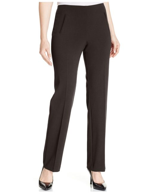 Style & Co. | Black Petite Straight-leg Tummy-control Pants | Lyst