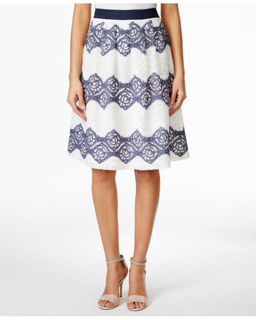 nine west flowy floral lace striped a line skirt in blue