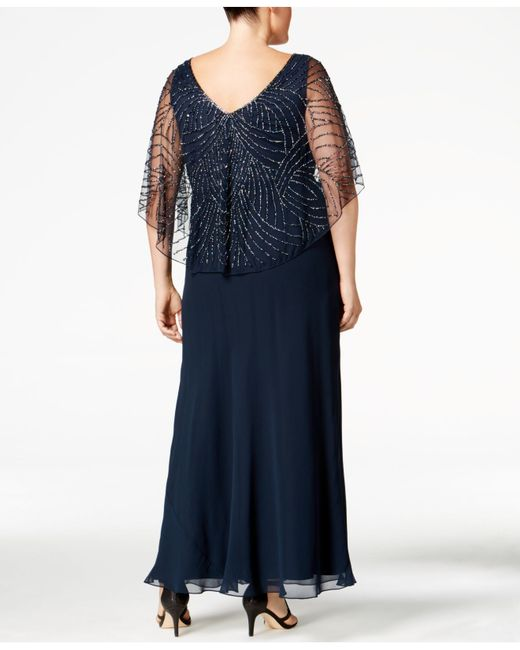 J Kara Plus Size Beaded V Neck Capelet Gown In Blue Lyst