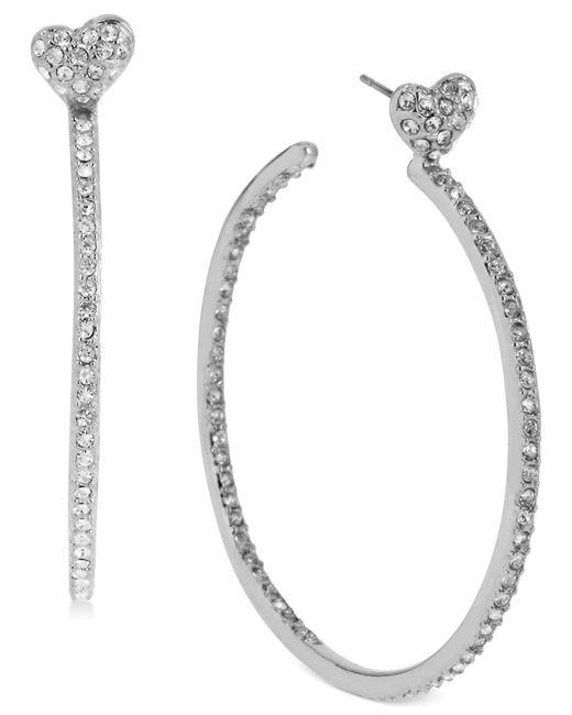 Betsey Johnson | Metallic Silver-tone Crystal Heart Hoop Earrings | Lyst
