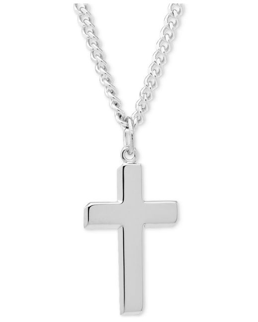 Macy's Simple Cross Pendant Necklace In Sterling Silver in ...