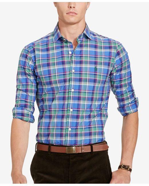 Polo Ralph Lauren   Blue Big & Tall Plaid Poplin Shirt for Men   Lyst