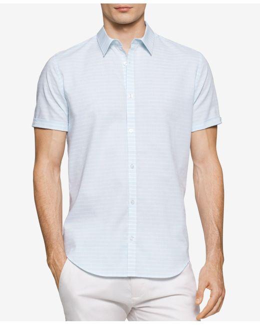 Calvin klein men 39 s horizontal striped dobby short sleeve for Horizontal striped dress shirts men