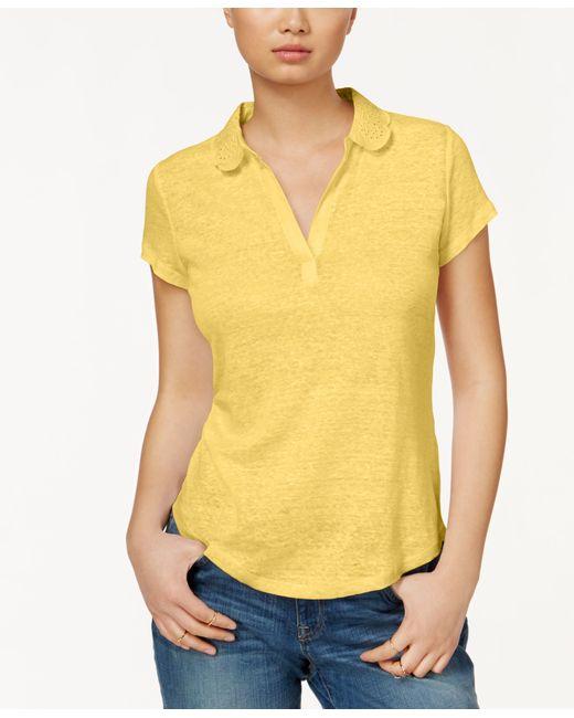 Maison jules short sleeve eyelet collar polo only at macy for Mens eyelet collar dress shirts