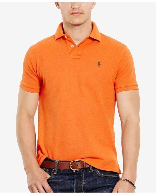 Polo Ralph Lauren | Orange Men's Slim-fit Cotton Mesh Polo Shirt for Men | Lyst