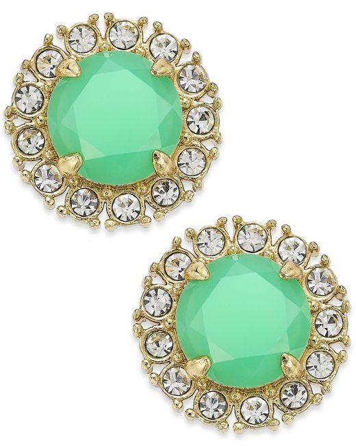 kate spade new york   Green Gold-tone Stud Earrings   Lyst