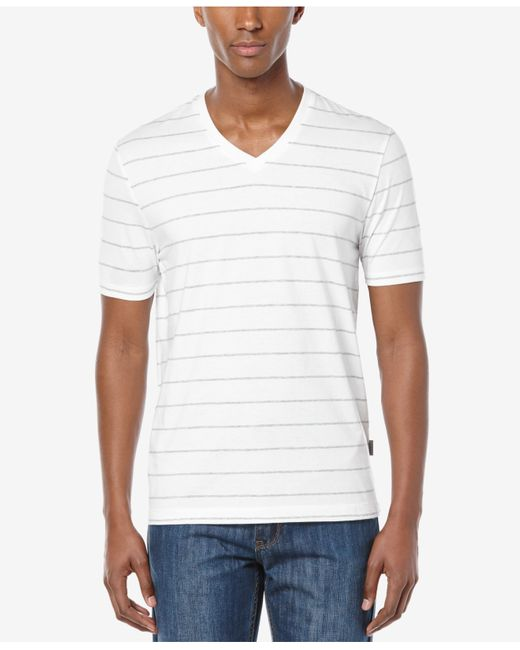 Perry Ellis Men 39 S Wide Stripe V Neck T Shirt In White For