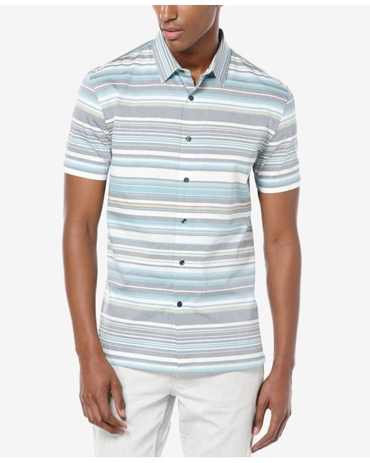 Perry ellis men 39 s horizontal stripe short sleeve shirt in for Horizontal striped dress shirts men