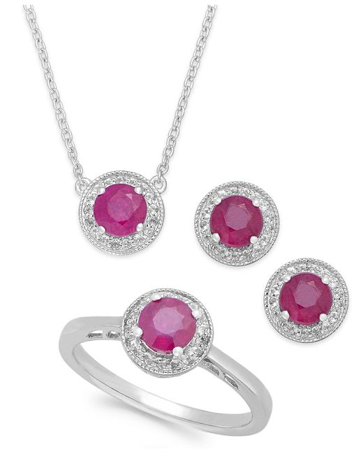 Macy's - Pink Emerald (2 Ct. T.w.) And White Topaz (1/2 Ct. T.w.) Jewelry Set In Sterling Silver - Lyst