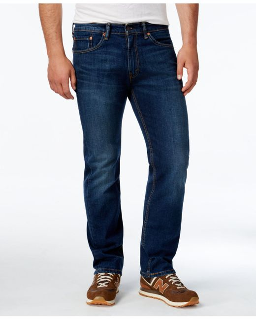 Levi S 174 Men S 505 Classic Fit Stretch Jeans In Blue For