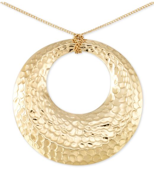 Macy's | Metallic Hammered Disc Long Length Pendant Necklace In 14k Vermeil | Lyst
