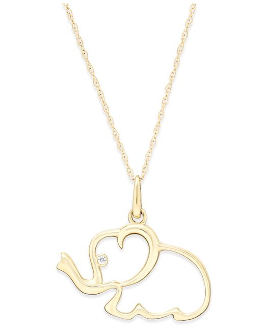 Macy's | Metallic Cubic Zirconia Elephant Pendant Necklace In 10k Gold | Lyst