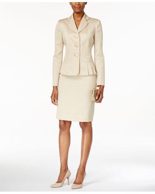 Kasper Three Button Jacquard Skirt Suit In Multicolor Lyst