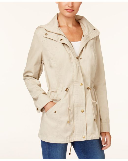 Style & Co. | Natural Cotton Hooded Utility Jacket | Lyst