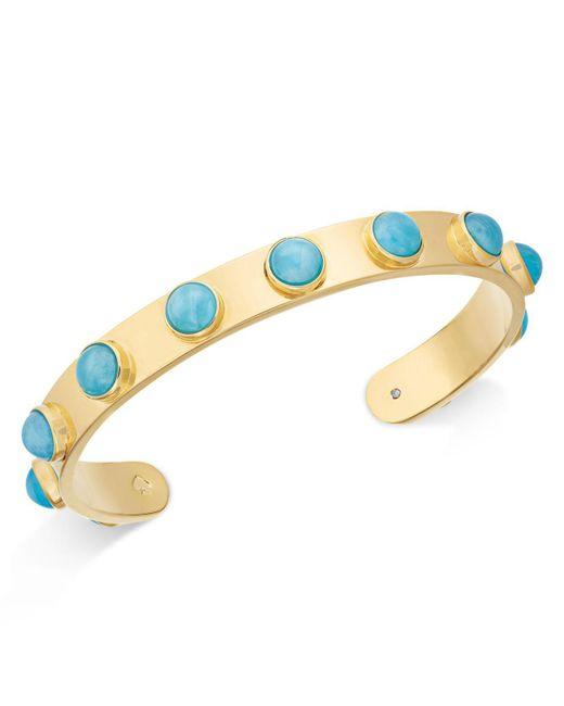 Kate Spade | Metallic Gold-tone Bezel Stone Cuff Bracelet | Lyst