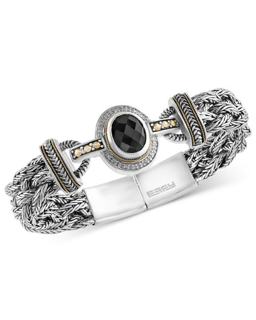 Effy Collection | Metallic Onyx (12 X 10mm) And Diamond (1/8 Ct. T.w.) Braided Bracelet In Sterling Silver With 18k Gold Accents | Lyst