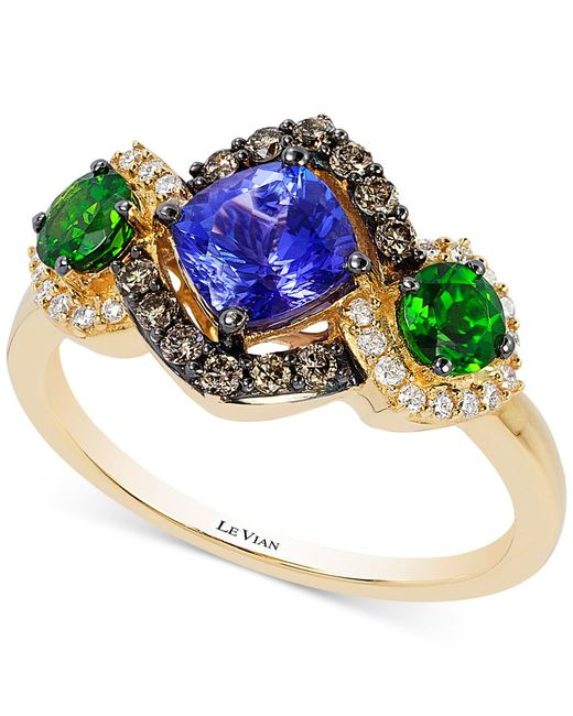 Le Vian   Metallic Chocolatier Neo Geo Multi-gemstone (1-1/2 Ct. T.w.) And Diamond (1/3 Ct. T.w.) Ring In 14k Gold, Only At Macy's   Lyst