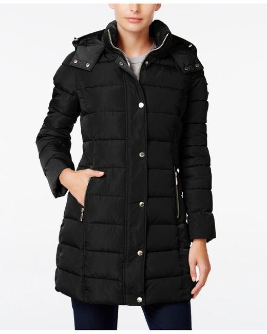 Calvin Klein | Black Hooded Puffer Coat | Lyst