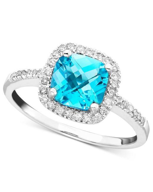 Macy's   Blue Topaz (1-3/8 Ct. T.w.) & Diamond (1/5 Ct. T.w.) Ring In 10k White Gold   Lyst