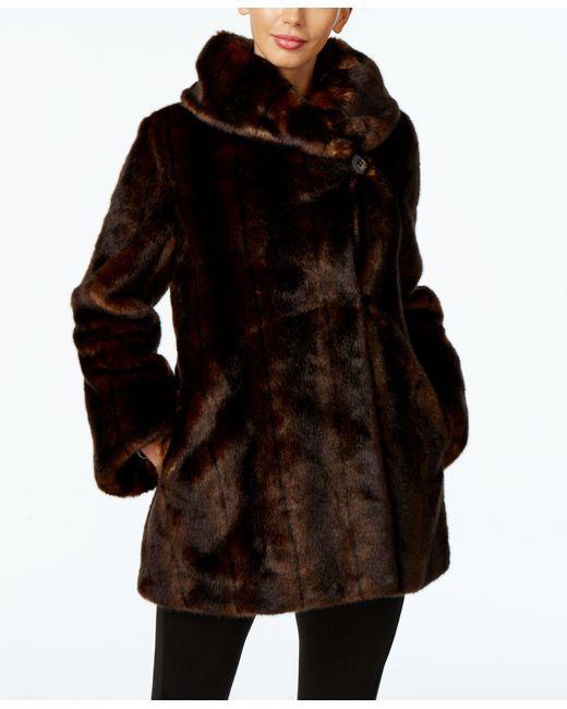 Jones New York Faux Fur Asymmetrical Coat In Brown Lyst
