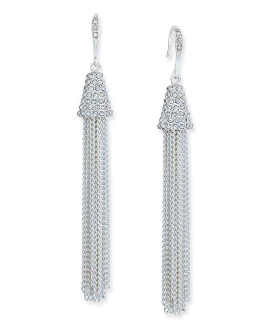 INC International Concepts | Metallic Silver-tone Pave-accented Tassel Drop Earrings | Lyst