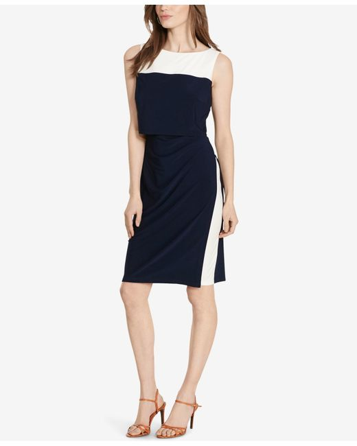 American Living Two Toned Popover Dress In Black Navy