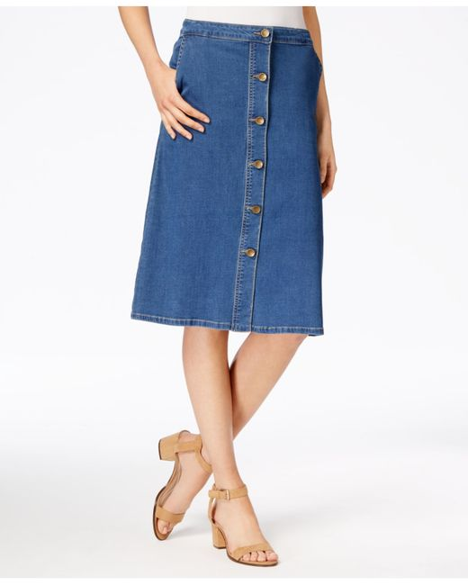 kut from the kloth button front denim skirt in blue mused