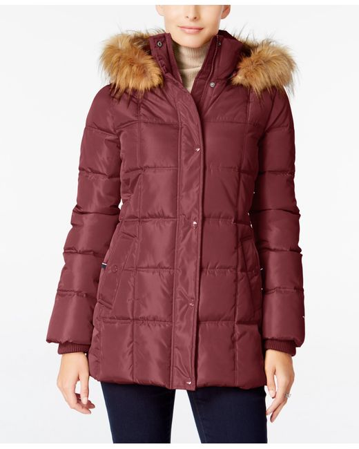 Tommy Hilfiger Faux Fur Trim Hooded Puffer Coat Only At