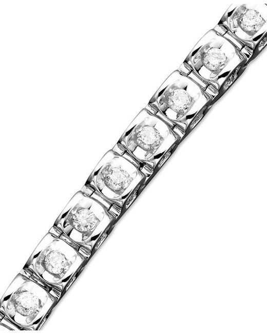 Macy's | Metallic Diamond Bracelet In 14k White Or Yellow Gold (1 Ct. T.w.) | Lyst
