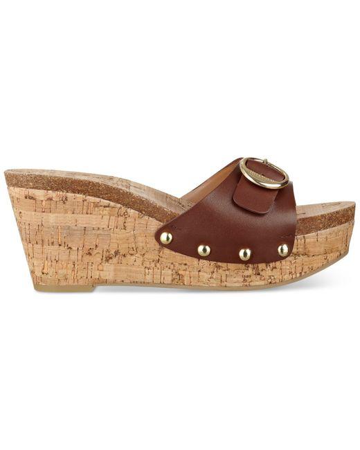 Tommy Hilfiger Honora Platform Wedge Sandals In Brown