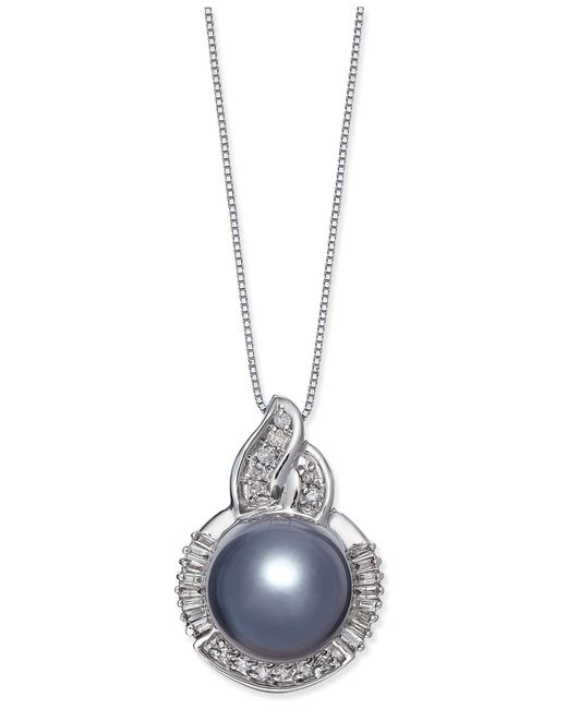 Macy's   Cultured Tahitian Black Pearl (11mm) And Diamond (1/3 Ct. T.w.) Pendant Necklace In 14k White Gold   Lyst