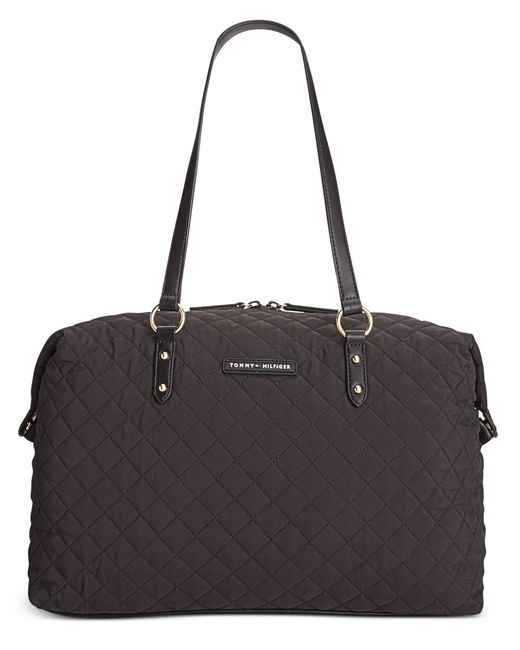 tommy hilfiger quilted nylon weekender tote in black save 25 lyst. Black Bedroom Furniture Sets. Home Design Ideas