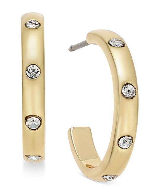 Kate Spade | Metallic Gold-tone Crystal Studded J-hoop Earrings | Lyst
