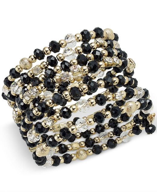 INC International Concepts | Metallic Gold-tone Black And Metal Bead Coil Bracelet | Lyst
