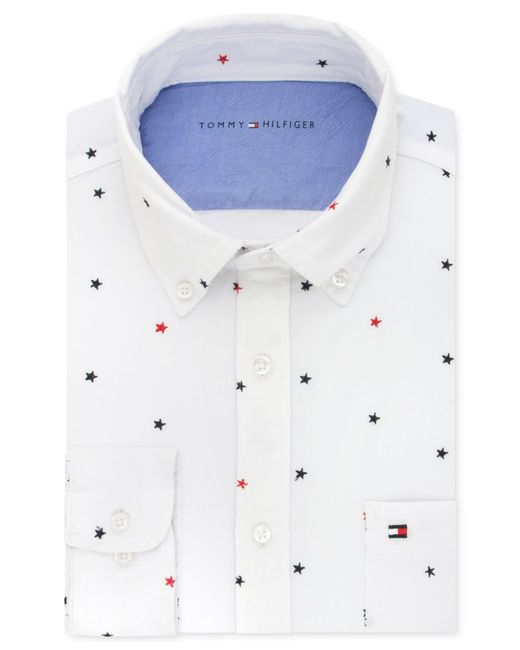 Tommy hilfiger men 39 s slim fit comfort wash star for Untucked dress shirt with tie