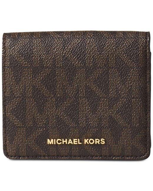 Michael Kors   Brown Logo-Print Leather Card Case   Lyst