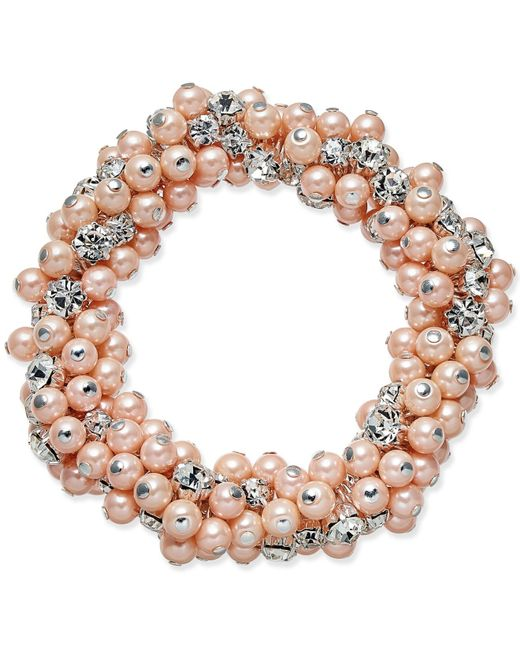 Charter Club | Multicolor Silver-tone Imitation Pink Pearl And Crystal Cluster Stretch Bracelet | Lyst