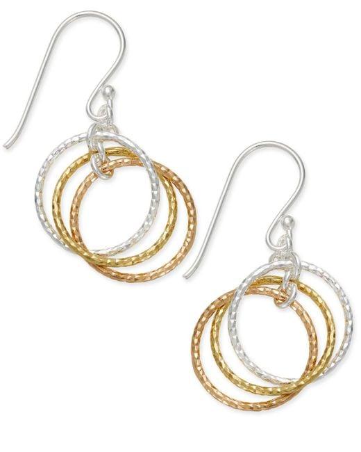 Giani Bernini Metallic Tri-tone Interlocking Circle Drop Earrings In Sterling Silver, Gold-plated Sterling Silver And Rose Gold-plated Sterling Silver