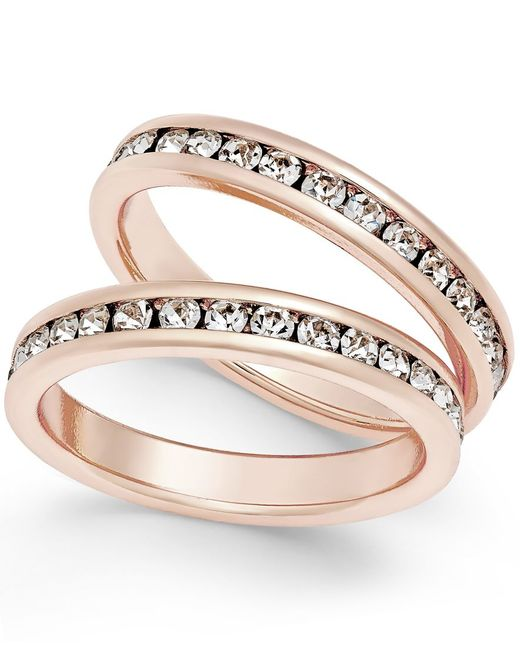 Charter club Rose Gold tone 2 pc Set Channel set Crystal Bands ly At Macy