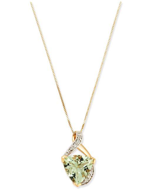 Macy's   Metallic Mint Quartz (3-1/4 Ct. T.w.) And Diamond Accent Pendant Necklace In 14k Gold   Lyst