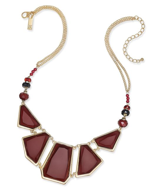 INC International Concepts | Metallic Gold-tone Burgundy Beaded Statement Necklace, Only At Macy's | Lyst