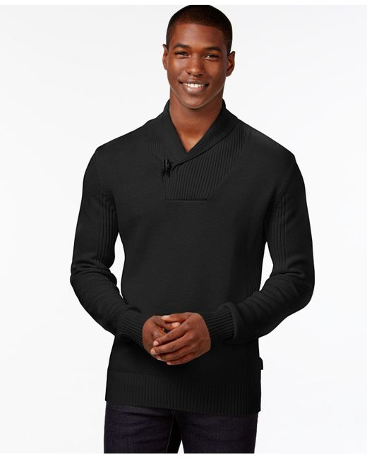 Sean John | Black Men's Toggle Shawl-collar Sweater for Men | Lyst