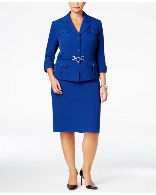 tahari plus size three button belted skirt suit in blue lyst