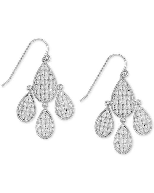 Macy's   Metallic Teardrop Chandelier Earrings In 10k White Gold   Lyst